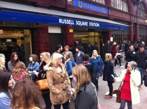 Students waiting outside Russell Square for their 1st visit