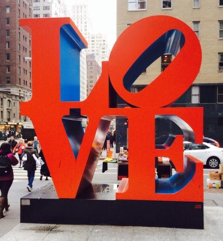 Famous Robert Indiana pop art sculpture near MOMA