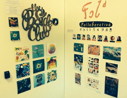 The Fold and 'B Side' collective's stand at the Falmouth Illustration Degree show 2014