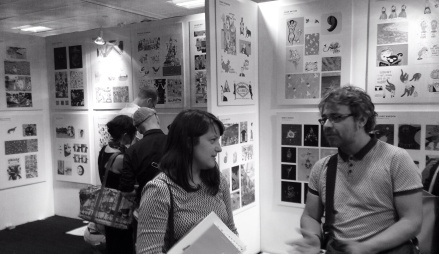 Chloe Luxford talking to Nick Mott at the new Designers