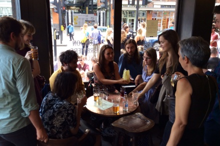 Students in the Ten Bells Pub just before the NBA private view
