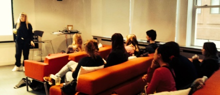 Students with Layla Boyd at Saatchi & Saatchi