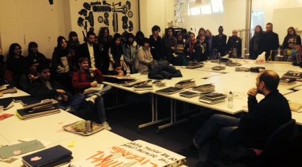 Cyriak, taking questions in the Illustration studio after his lecture.