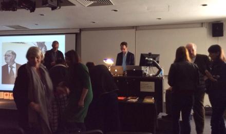 Vincent Larkin preparing for his presentation