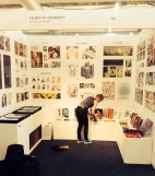 Sue putting the final touches to the Falmouth stand