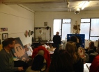 Pete Fowler talking to students in his east London studio